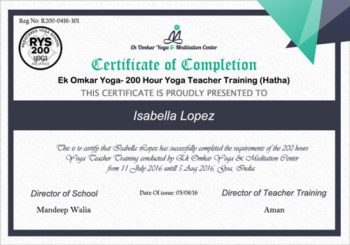 Yoga Alliance Teacher Training Certificate Template Learn about