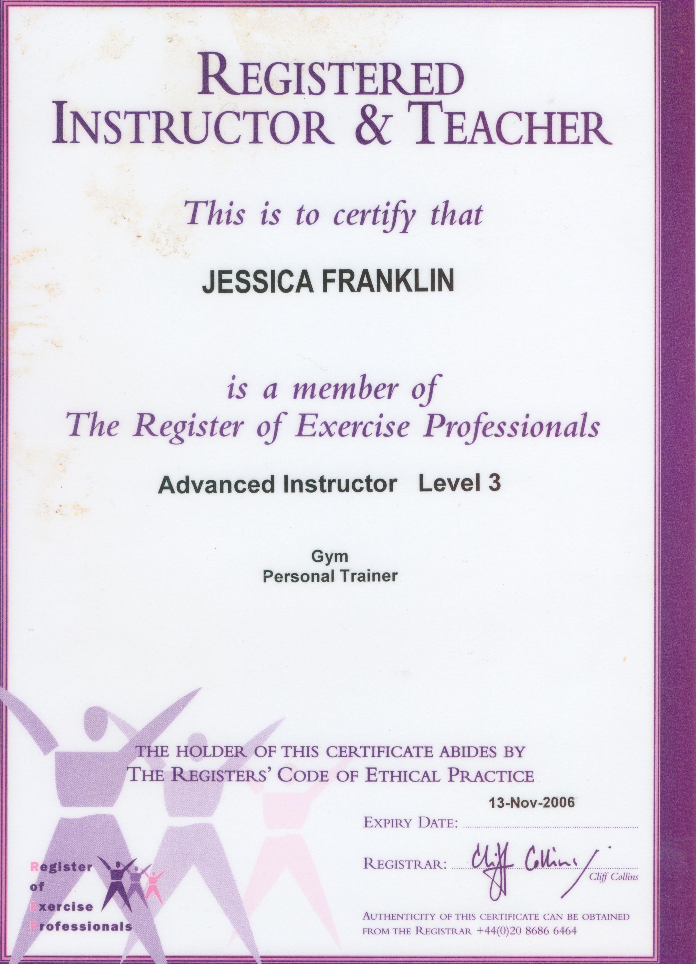 certificate fitness pt