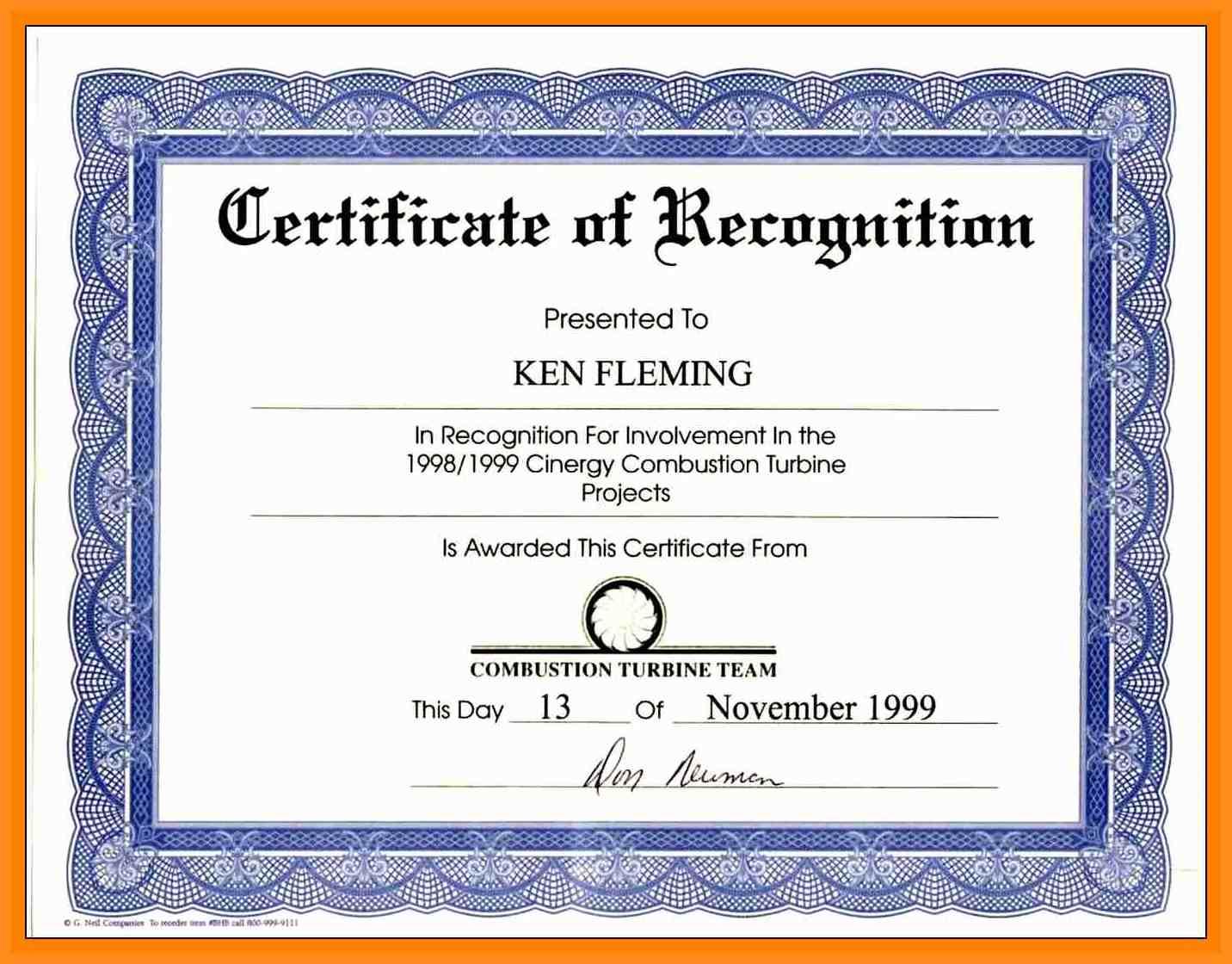 certificate wording