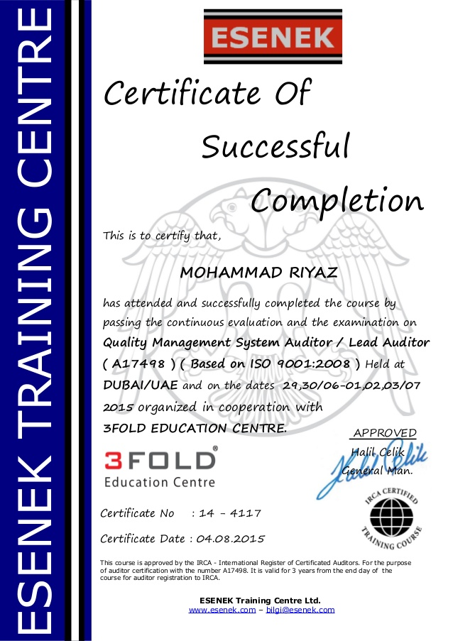 Iso 9001 Certificate Pdf | certificates templates free