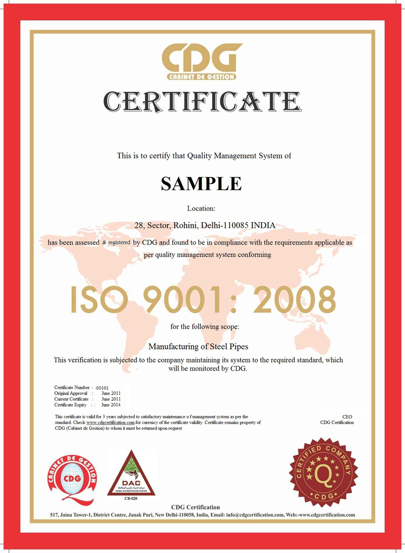Iso 9001 Certificate Sample Certificates Templates Free