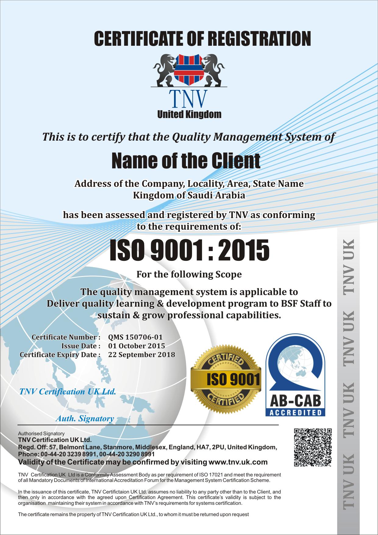 iso 9001 certificate sample tnv qms gmp certificates templates ce haccp